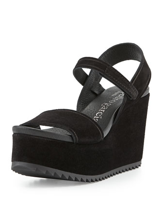 Dorothy Platform Suede Sandal, Black