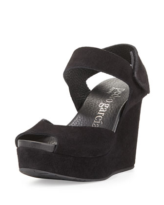 Molly Peep-Toe Wedge Sandal, Black