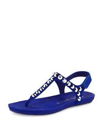 Judith Jeweled T-Strap Sandal, Electric