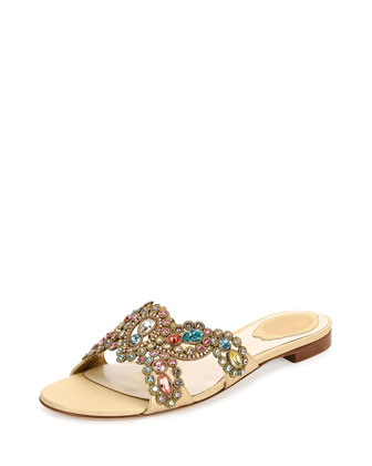 Strass Crisscross Flat Slide Sandal, Shara