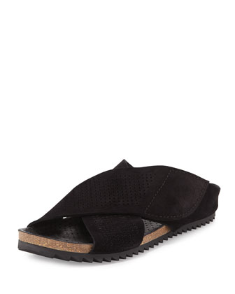 Alena Perforated Flat Sandal, Black