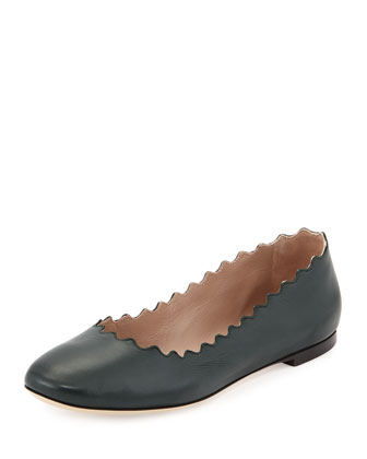 Scalloped Leather Ballerina Flat, Dark Green