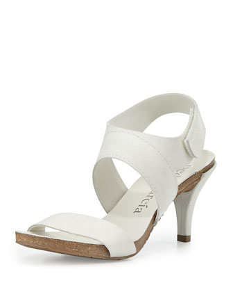 Wisal Leather Low-Heel Sandal, Chalk