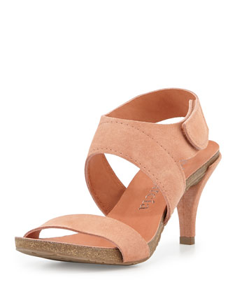 Wisal Leather Low-Heel Sandal, Cameo
