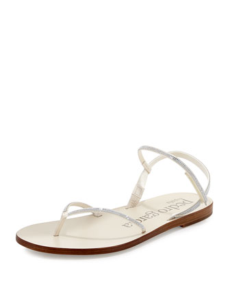Iciar Crystal Flat Thong Sandal, White