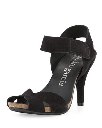 Yaniz Suede Peep-Toe Sandal, Black