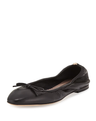 Gelsey Bow Leather Ballerina Flat, Black