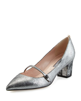 Dame Metallic Mary Jane Pump, Anthracite