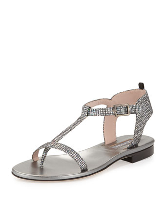 Veronika Glitter T-Strap Flat Sandal, Silver
