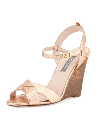 Davies Metallic Wedge Sandal, Rose