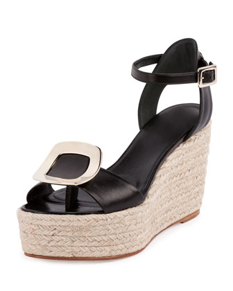 Buckle Ankle-Wrap Espadrille Sandal, Nero