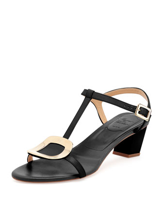 Chips Leather T-Strap Sandal, Nero