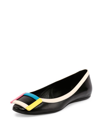 Two-Tone Leather Gommette Flat, Black/Multi