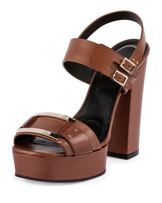 Plateau Leather Buckle Sandal, Cognac