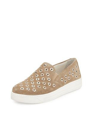 Rivet-Studded Slip-On Sneaker, (Desert) Deserto
