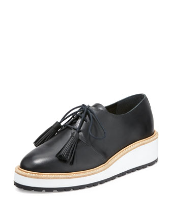 Callie Leather Lace-Up Sneaker, Black