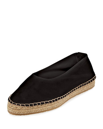 Manon Leather Espadrille Flat, Black