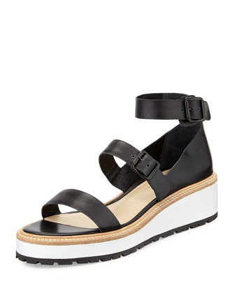 Pia Leather Platform Sandal, Black