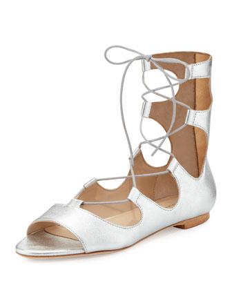 Dani Open-Toe Leather Ballerina Flat, Silver