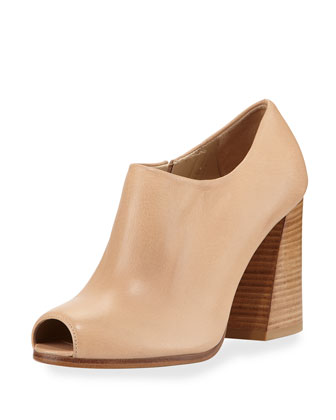 Altamira Leather Peep-Toe Bootie, Naked