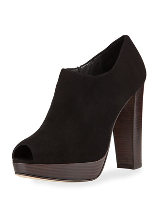 Altamira Suede Peep-Toe Bootie, Black