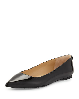 Arianna Patent Pointed-Toe Flat, Black