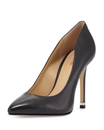 Arianna Leather Pointed-Toe Pump, Black