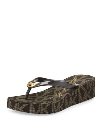 Bedford Logo-Print Wedge Thong Sandal, Brown