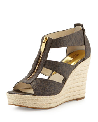 Damita Logo Zipper Wedge Sandal, Brown