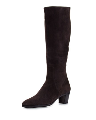 Suede Side-Zip Knee Boot, Gray