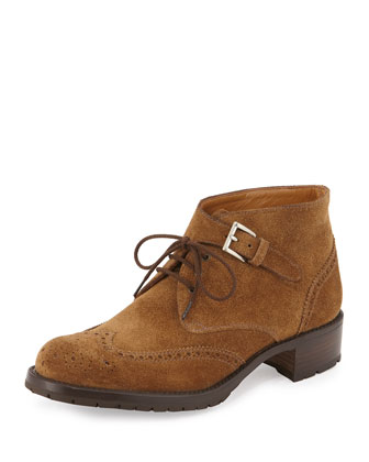 Perforated Suede Lace-Up Oxford, Tan