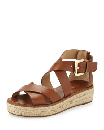 Darby Leather Crisscross Sandal, Luggage