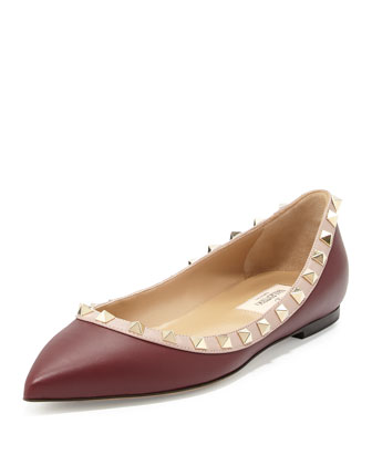 Leather Rockstud Ballerina Flat, Crimson