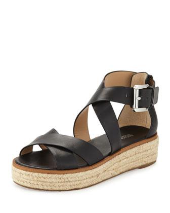 Darby Leather Crisscross Sandal, Black