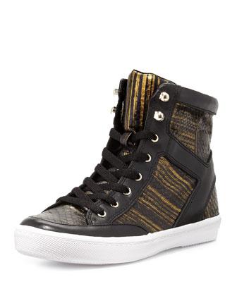 Smith Snake-Print High-Top Sneaker, Black