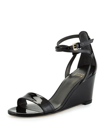 Backdraft Patent Wedge Sandal, Black