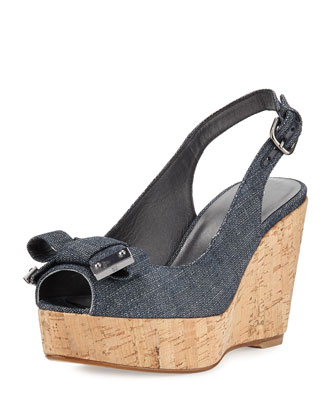 Bodajean Denim Peep-Toe Wedge, Navy