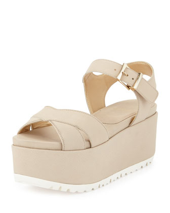 Crosspath Platform Leather Sandal, Vanilla