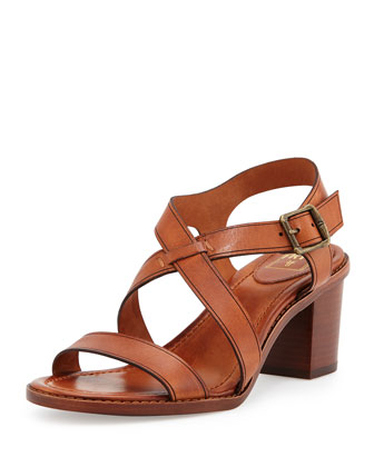 Brielle Crisscross Leather Sandal, Cognac