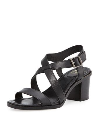Brielle Crisscross Leather Sandal, Black