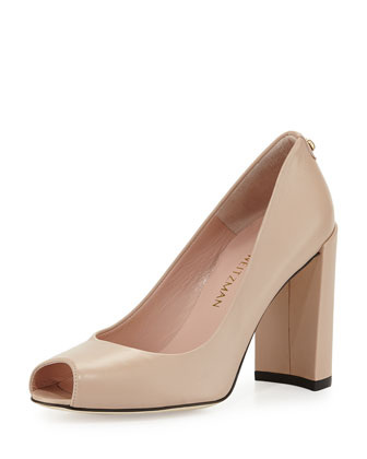 Lille Leather Peep-Toe Pump, Adobe