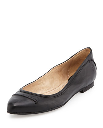 Olive Seamed Leather Ballet Flat, Black
