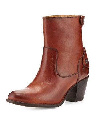 Jackie Snap-Zip Ankle Boot, Redwood