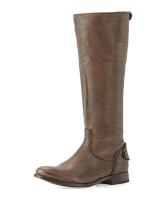 Melissa Leather Zip-Back Riding Boot, Gray