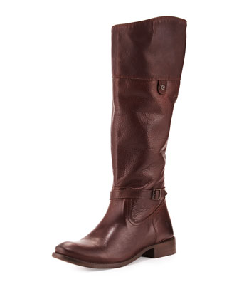 Shirley Rivet Tall Boot, Dark Brown