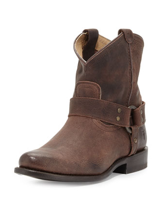 Wyatt Leather Harness Ankle Boot, Dark Brown