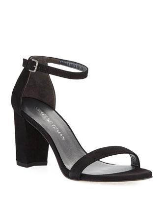Simple Suede City Sandal, Black