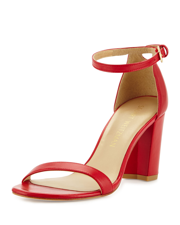 NearlyNude Leather City Sandal, Lipstick, Women's, Size: 42B/12B - Stuart Weitzman
