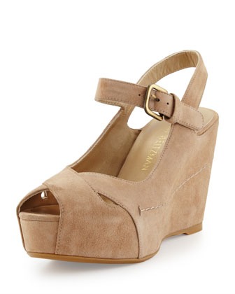 Turnover Suede Wedge Sandal, Beach