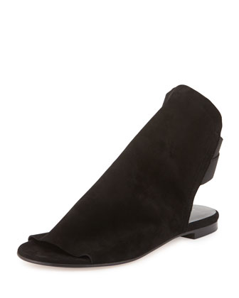 Updated Slouchy Suede Sandal, Black